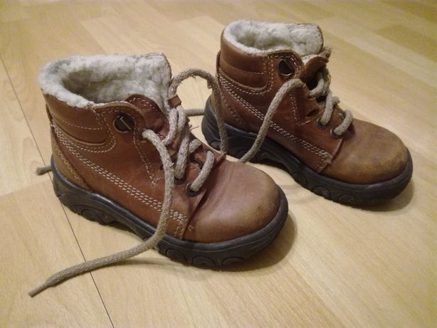 Butki r.27 skórzane z futerkiem w środku buty