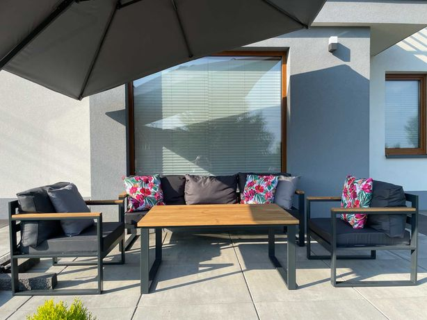 Meble ogrodowe zestaw: sofa + 2x fotel + stolik