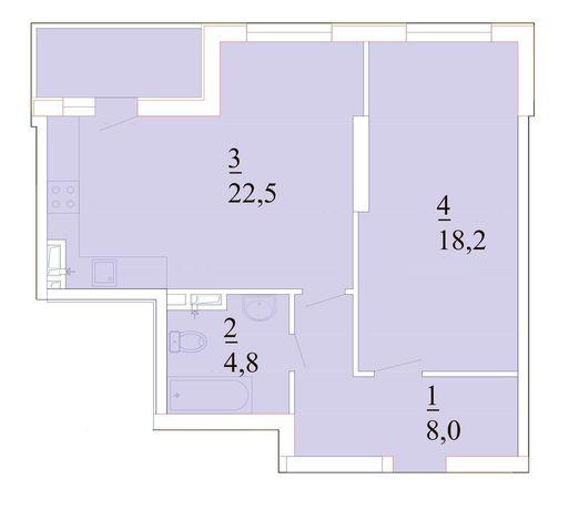 Продам 1 комн. квартиру 55,5 м.кв. от застройщика