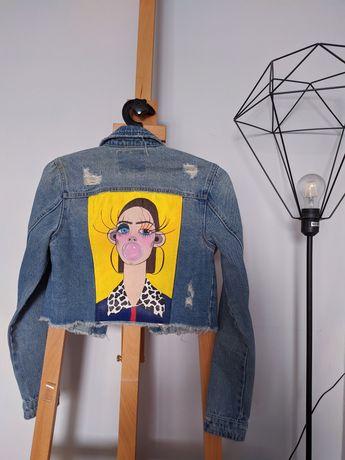 Krótka kurtka Bershka ręcznie malowana handmade XS jeansowa kurtka