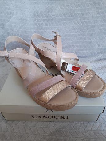 Sandałki Lasocki, skóra, nowe rozm.41