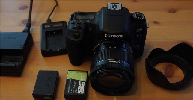 Aparat Canon Eos 77D + obiektyw 18-55 + 2 baterie i ładowarki+soczewka