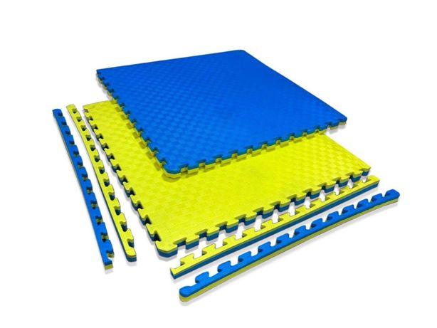 "Татами ""ласточкин хвост"" 40мм 1м х 1м, 120кг/м3 желто- синие"