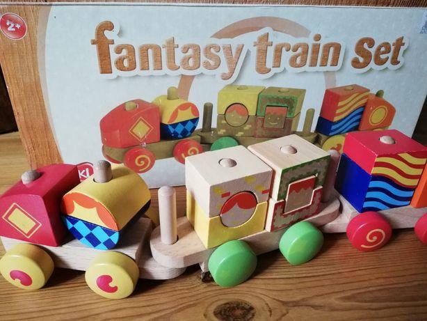 SMIKI Fantastyczny pociąg, drewniany, klocki, różne kształty i kolory