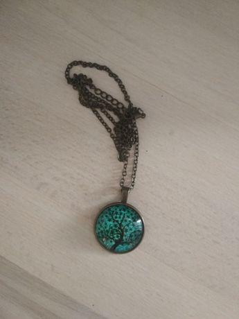 Szklany naszyjnik drzewko szczęścia zielony szklany vintage turkusowy