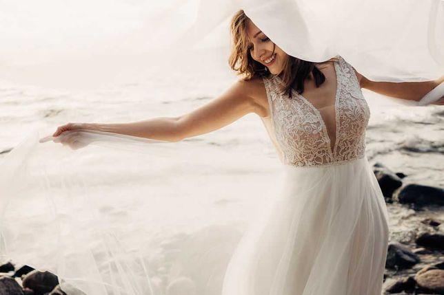 Piękna suknia ślubna + welony