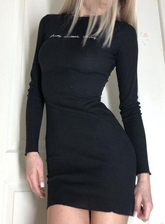 Обалденное чёрное платье в рубчик PrettyLittleThing
