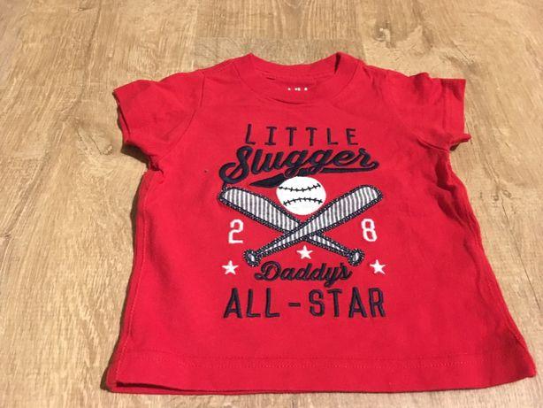 Czerwony T-shirt koszulka baseball Carter's 0-3 miesiące