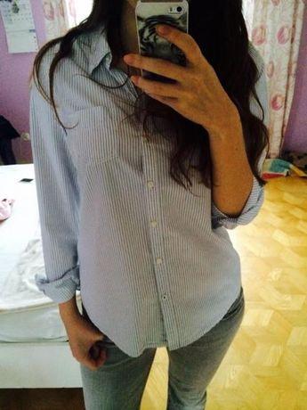 Koszula biała z niebieskimi paskami h&m nowa niebieskie paski M S