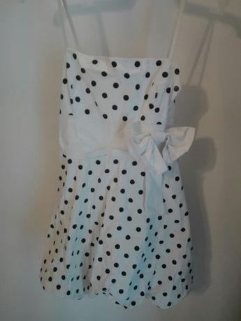 Biała sukienka w groszki z bolerkiem dziecięca