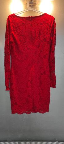 Sukienka koronkowa 40 L czerwona