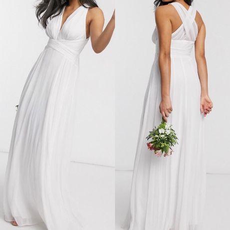 Nowa suknia ślubna 42 XL biała dekolt długa maxi ślub dekolt gładka