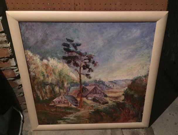 obraz olejny na płótnie, Bory Tucholskie , rama sosnowa , 80x80 cm