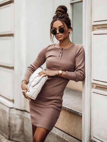 Sukienka Bawełniana Prążkowana Beżowa M /38