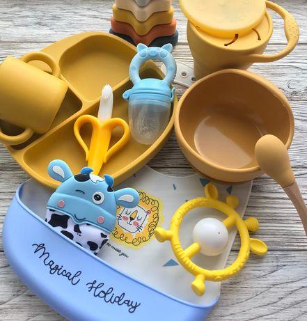 Силиконовая посуда (тарелка, чашка, ниблер, слюнявчик), держатель