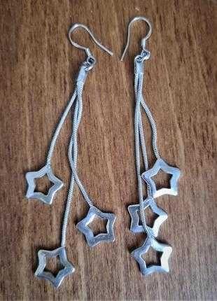 Серебряные серьги звезды 925 проба