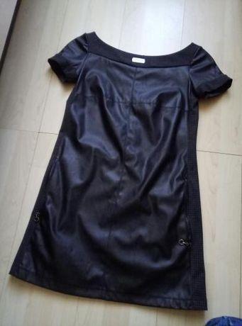 Кожаное платье, черное платье