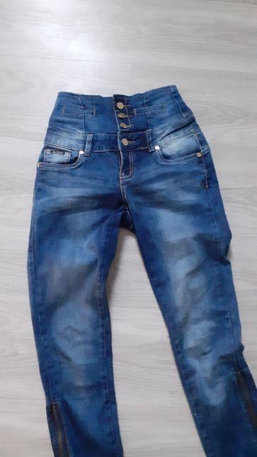 Spodnie jeansy z wysokim stanem