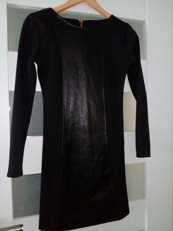 Sukienka czarna krótka wstawka ekoskóra długi rękaw 36/38 zamiana