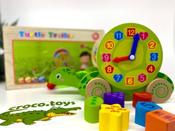 Развивающая деревянная игрушка черепаха. Сортер. Каталка