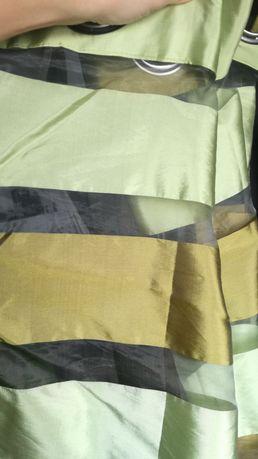 Zasłony firanki firanka zasłona na przelotkach dzień noc zielona paski