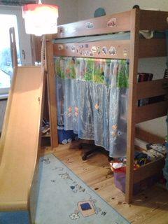 Łóżko z biurkiem i zjeżdżalnią buk PAIDI