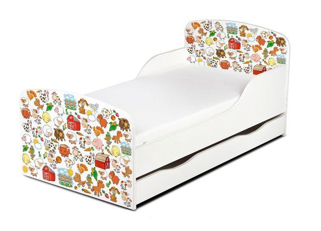 Drewniane łóżko dla dzieci z szufladą i materacem RÓŻNE WZORY