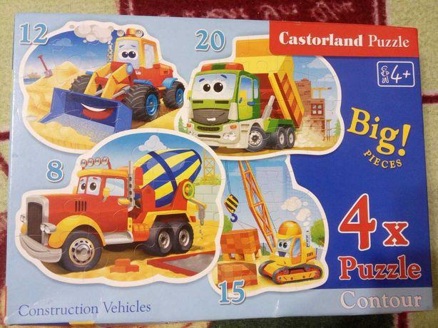 Пазлы castorland для мальчиков строительная техника 4 в 1 8-12-15-20