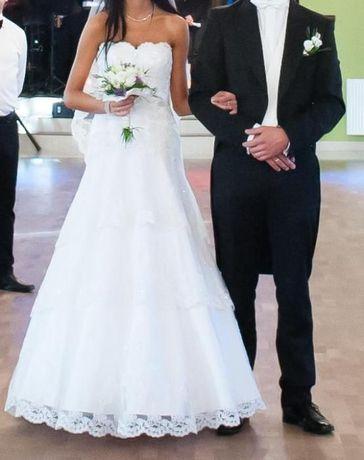 Suknia ślubna BIAŁA linia A rozkloszowana od bioder r.36