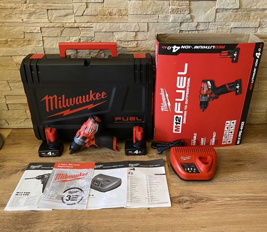 Wiertarko-wkrętarka akumulatorowa Milwaukee M12 FPD-402X - Zestaw