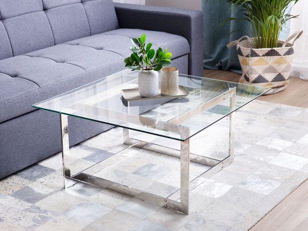 Mesa de centro prateada com tampo de vidro CRYSTAL - Beliani