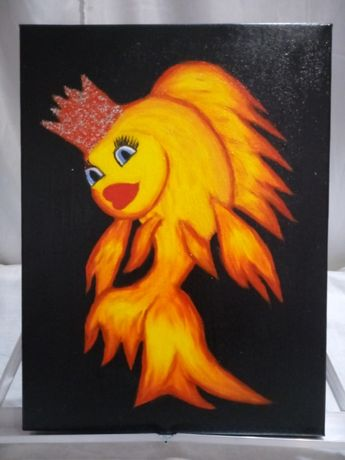Картина ,, Золотая рыбка ,, 40x30 масло , холст на подрамнике .