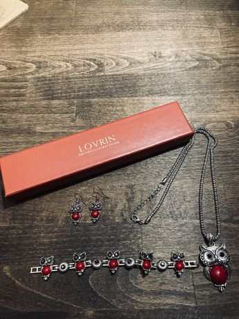 Lovrin zestaw biżuterii sowy czerwone kamienie naszyjnik kolczyki bran