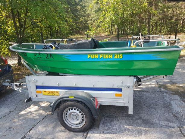 łódka wędkarska wraz z przyczepą