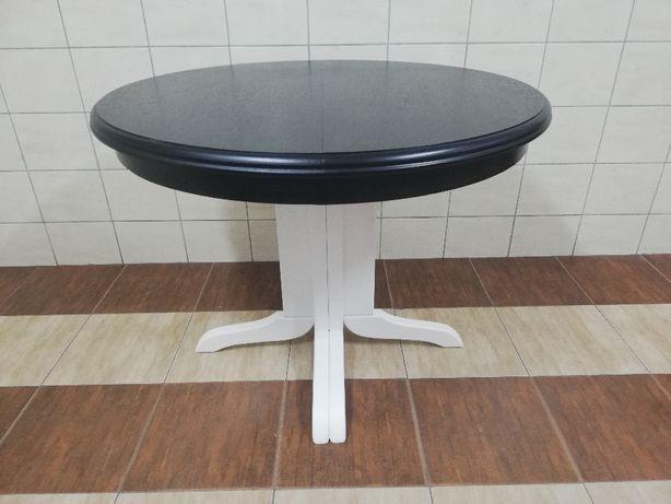 Stół okrągły rozkladany na jednej nodze czarny biały dąb salon jadalni
