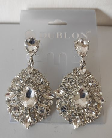 Kolczyki ślubne DUBLON kryształy