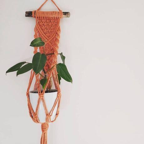 Kwietnik makrama na jeden kwiat - kolor terracotta - sznurek naturalny