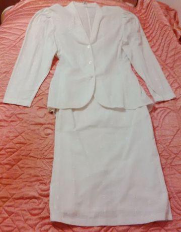 Garsonka biała marynarka spódnica taliowana garnitur damski komplet XL