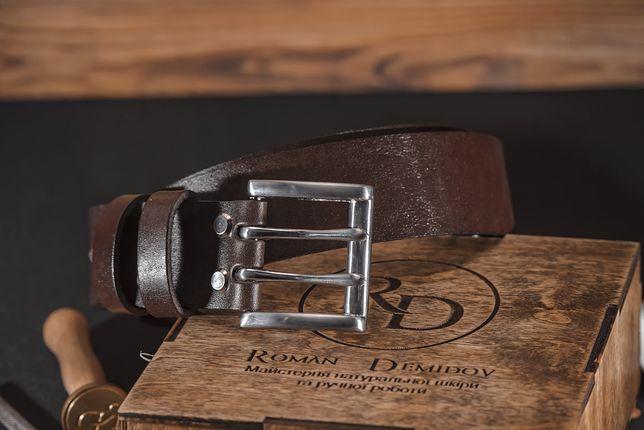 Ремень кожаный Коричневый ручной работы 45 мм