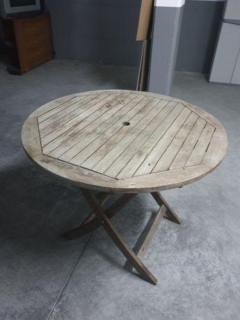 Mesa redonda de jardim em madeira