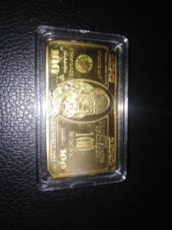 Kolekcjonerska pozłacana 100 dolarówka