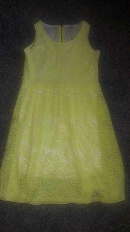 Sukienka żółta neon roz 38 koronka