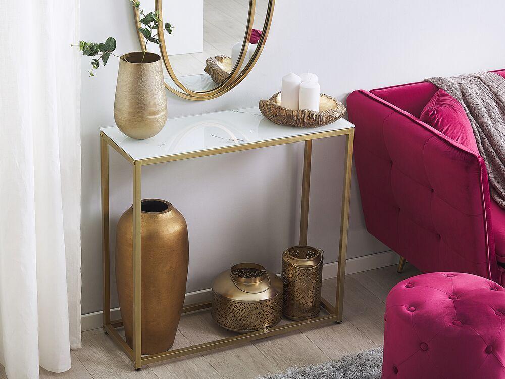 Consola de vidro com efeito de mármore branco com dourado DELANO - Beliani