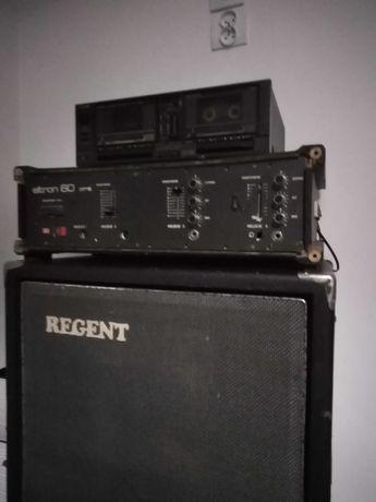 Głośnik, wzmacniacz i magnetofon.
