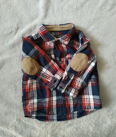 Stylowy zestaw koszula i spodnie H&M 74 czerwony granatowy krata