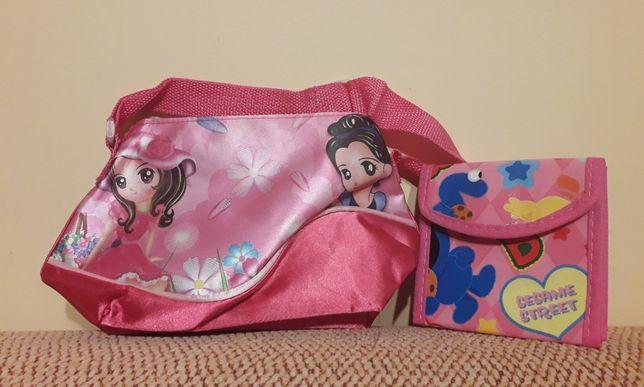 Różowa torebka na ramię dla dziewczynki + porfelik gratis