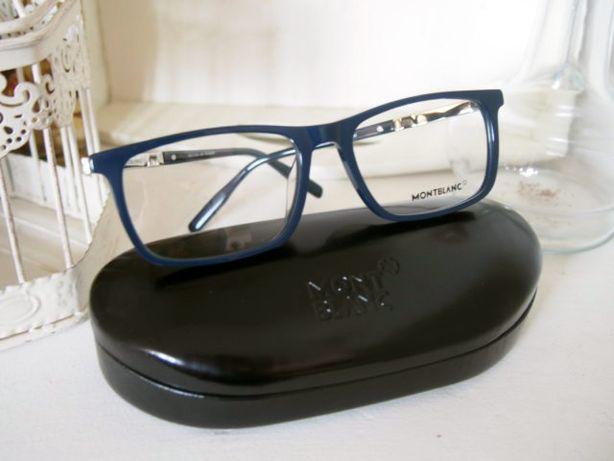 Mont Blanc granatowe damskie cienkie oprawki okulary zerówki