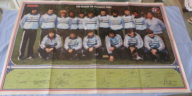 Poster Des Bleus de France 1983 c/ assinatura todos jogadores