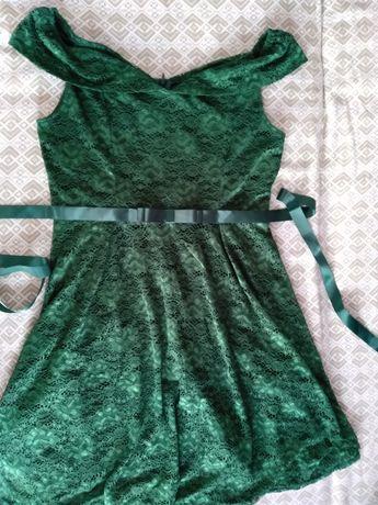 śliczna sukienka koronkowa butelkowa zieleń