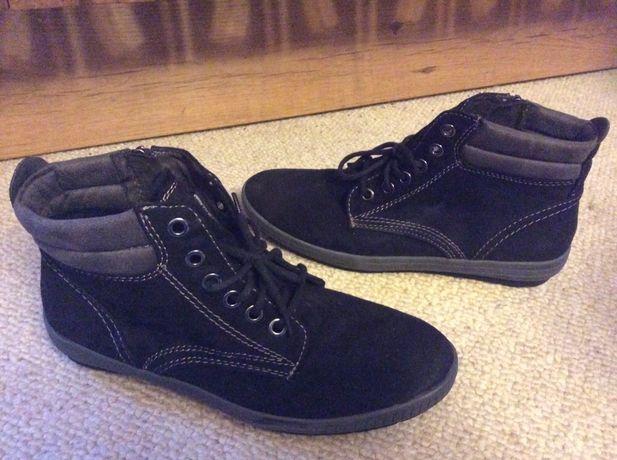 Ocieplane buty z: weluru, sznurowane, na: zamek